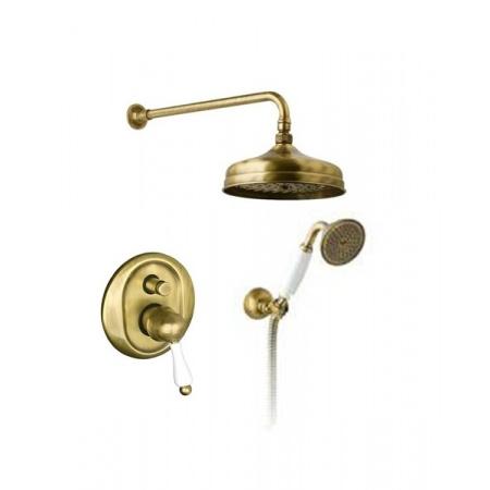 Giulini Giovanni Praga Zestaw natryskowy podtynkowy z deszczownicą 20 cm stare złoto 95ZES20BR