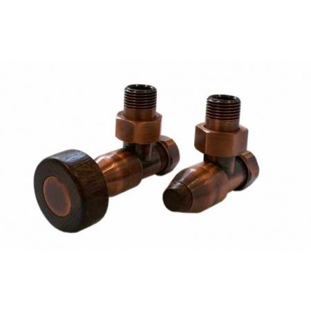 Schlosser Prestige zestaw grzejnikowy kątowy ½ x M22x1,5 Antyczna miedź, Walcowe cienkie pokrętło drewniane GW M22x1,5 - 16x2 PEX 604500041