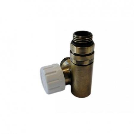 Schlosser zawór termostatyczny do grzałki lewy, antyczny mosiądz, ze złączką na Stal 6049 00036
