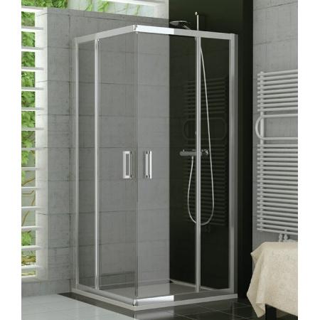 Ronal Top-Line TED2 Kabina prysznicowa, wejście narożne z drzwiami skrzydłowymi, mocowanie prawe 70x190 cm, profile srebrne mat, szkło Krople TED2D07000144