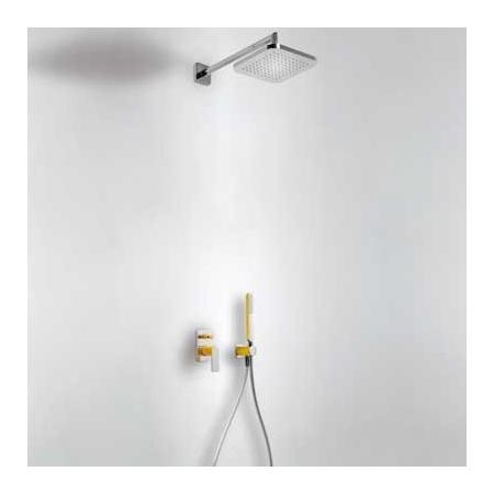 Tres Loft-Colors Zestaw prysznicowy z baterią podtynkową i deszczownicą, żółty bursztynowy 200.180.02.AM