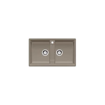 Blanco Zia 9 Zlewozmywak granitowy Silgranit PuraDur dwukomorowy 86x50 cm bez korka automatycznego, tartufo 517424