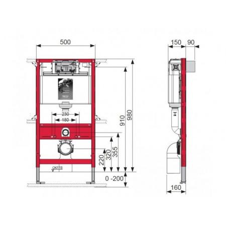 Tece Profil Uniwersalny stelaż podtynkowy do WC ze spłuczką podtynkową uruchamianą z góry lub z przodu, wysokość 980 mm (9.300.022)