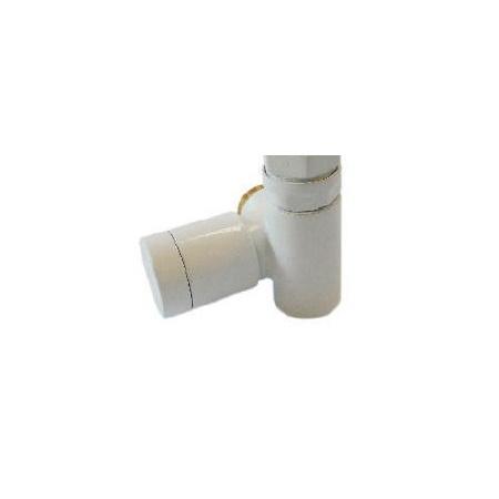 Schlosser Zawór grzejnikowy do grzałki elektrycznej z pokrętłem - prawy biały ze złączką na PEX (604900052)