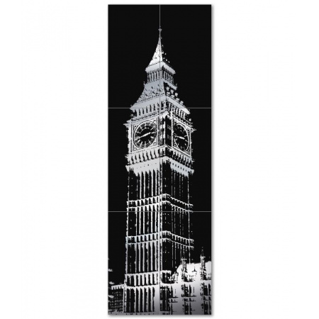 Tubądzin London Dekor ścienny 6-elementowy 598x1798 mm Big Ben 2 Gat.1