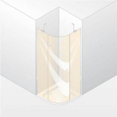 Huppe Enjoy Pure Drzwi skrzydłowe ze stałymi segmentami, 1-częściowe z powłoką anti plaque 90 x 120 cm prawe 1/4 koła, chrom 4T3511.092.322