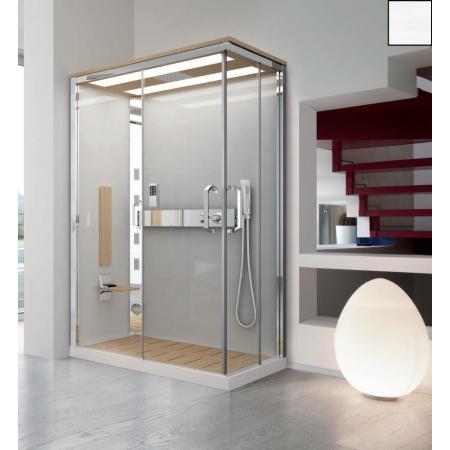 Novellini Nexis 1 Kabina prysznicowa prostokątna z dachem, sauną i deszczownicą 120x80x234 cm, lewa, biała NEXA129ST5-1KA