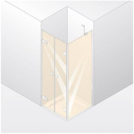 Huppe Enjoy Elegance Drzwi wahadłowe do ścianki bocznej, mocowanie prawe, montaż na brodziku - 90/200 biały Szkło przezroczyste Anti-Plaque 3T2302.055.322