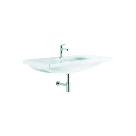 Koło umywalka prostokątna OVUM by Antonio Citterio 110 cm z otworem, z przelewem Biały (L41110R)