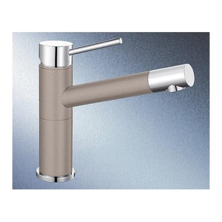 Blanco Alta Compact Silgranit-Look Jednouchwytowa bateria kuchenna stojąca, jasnobrązowa, tartufo/chrom 517633
