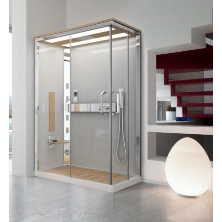 Novellini Nexis 1 Kabina prysznicowa prostokątna z dachem, sauną i deszczownicą 100x80x234 cm, prawa, jesion NEXA109DT5-1KP