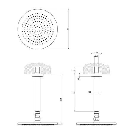 Gessi Minimali Deszczownica 21,6 cm szczotkowany nikiel 13351.142 / 13351142
