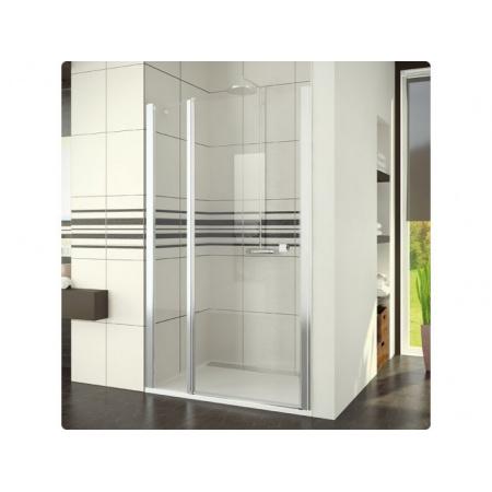 Ronal Swing-Line Drzwi prysznicowe jednoczęściowe ze ścianką stałą w linii - 140 x 195 cm biały Szkło cieniowane niebieski (SL1314000454)