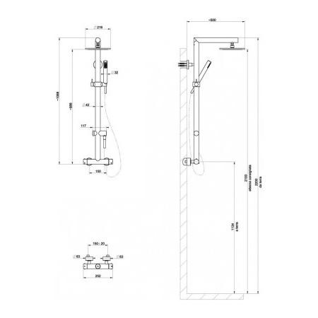 Gessi Minimali Zestaw natryskowy termostatyczny szczotkowany nikiel 23466.142 / 23466142