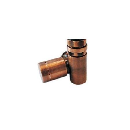 Schlosser Zawór grzejnikowy do grzałki elektrycznej z pokrętłem - prawy antyczna miedź ze złączką na PEX (604900076)