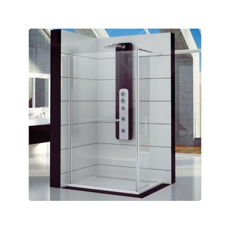 Ronal Fun Ścianka prysznicowa jednoczęściowa ze ścianką ruchomą - 140 x 200 cm Chrom Pas satynowy poziomy (FUD214005051)