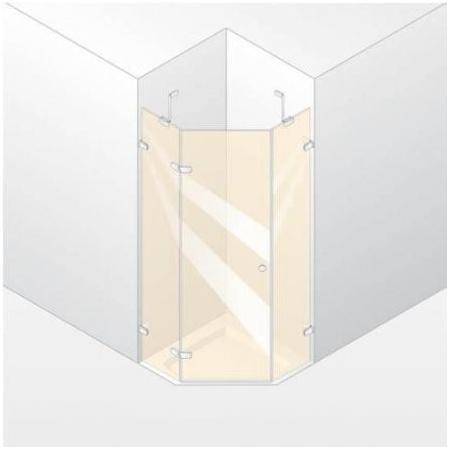 Huppe Enjoy Elegance Drzwi skrzydłowe ze stałymi segmentami, 1-częsciowe - Mocowanie lewe 100/200 biały Szkło przezroczyste 3T3602.055.321