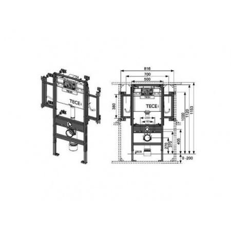 Tece Profil Stelaż podtynkowy do WC dla osób niepoełnosprawnych ze spłuczką podtynkową (9.300.009)