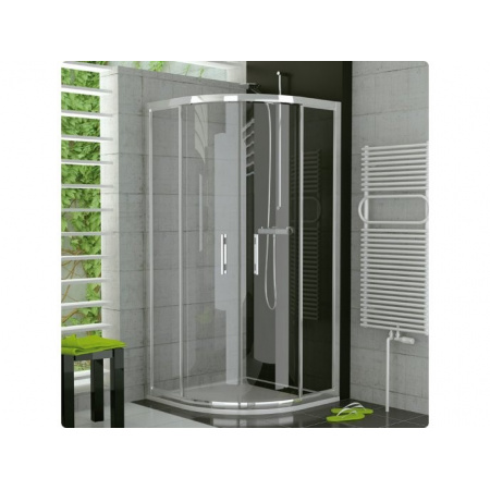 Ronal Top-Line Kabina prysznicowa półokrągła z drzwiami suwanymi - 100 x 100 x 190 x 50cm srebrny matowy Wzór krople (TOPR501000144)