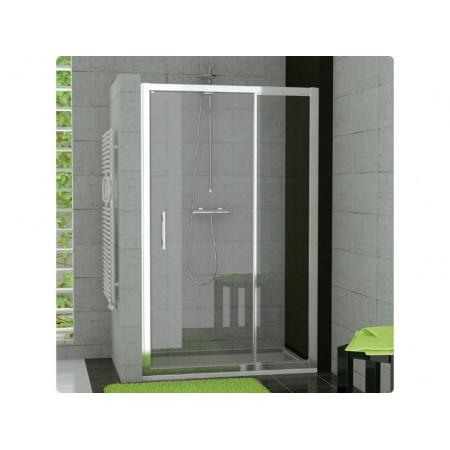 Ronal Top-Line Drzwi prysznicowe dwuczęściowe, przesuwno-składane - 100 x 190cm srebrny matowy Szkło Master Carre (TOPK10000130)