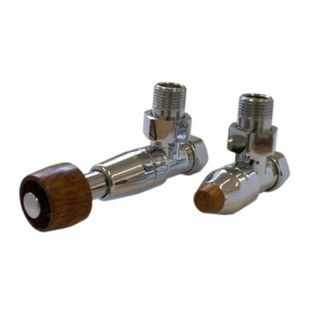 Schlosser Prestige zestaw termostatyczny kątowy ½ x M22x1,5 Chrom, Głowica z drewnianym pokrętłem walcowym GW M22x1,5 x 15mm Cu 604500088