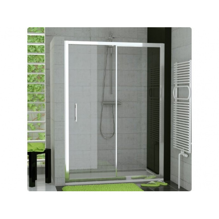 Ronal Sanswiss Top-Line Drzwi rozsuwane dwuczęściowe 140x190 cm, profile białe szkło przezroczyste TOPS214000407