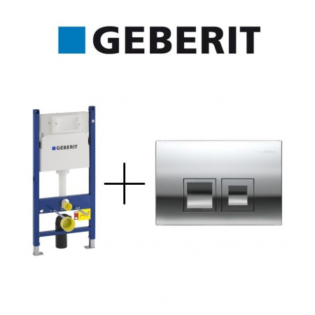 Geberit Zestaw Duofix Basic Spłuczka podtynkowa WC do ścian gipsowych + Delta 50 Przycisk uruchamiający przedni do spłuczek podtynkowych UP100, 111.153.00.1 + 115.135.21.1
