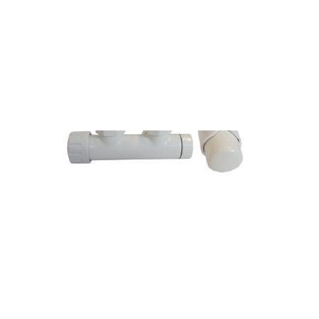 Schlosser Zestaw - zawór termostatyczny z głowicą termostatyczną Duo-plex 3/4 x M22x1,5 prosty biały+Nyple biały (602100031)