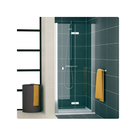 Ronal Swing Line F Drzwi prysznicowe dwuczęściowe składane - Mocowanie prawe 100 x 195 cm srebrny matowy Szkło cieniowane niebieski (SLF1D10000154)