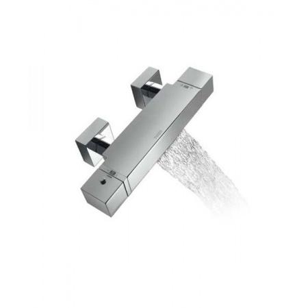 Tres Cuadro-Tres Bateria wannowo-prysznicowa termostatyczna ścienna z pokrętłem z kaskadową wylewką, chrom 1.07.174.9