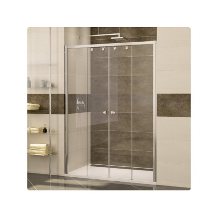 Ronal Pur Light S Drzwi prysznicowe czteroczęściowe - 150 x 200 cm biały Pas satynowy poziomy (PLS41500451-01)