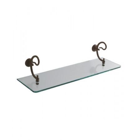 Globo Paestum Półka szklana z uchwytami 64x21x10 cm, antyczny metal PA047