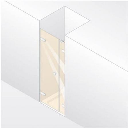 Huppe Enjoy Elegance Drzwi skrzydłowe z częścią boczną do wnęki, mocowanie lewe - 80/200 srebrny matowy Szkło Privatima Anti-Plaque 3T3101.087.375
