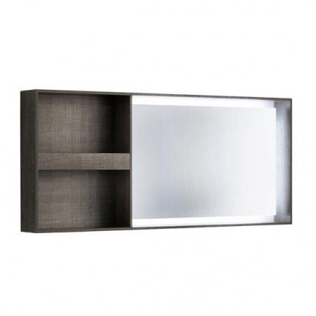 Keramag Citterio Lustro prostokątne 133,4x58,4x14 cm z oświetleniem LED i z półkami, dąb czarny 835636000