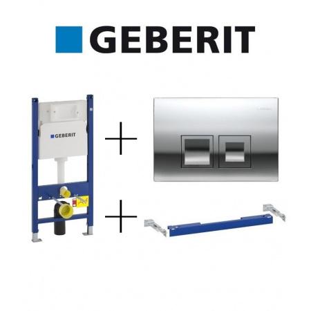 Geberit Zestaw Duofix Basic Spłuczka podtynkowa WC do ścian gipsowych + Wsporniki dystansowe + Przycisk uruchamiający, 111.153.00.1 + 111.813.00.1 + 115.135.21.1