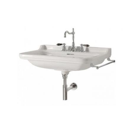 Kerasan Waldorf Umywalka wisząca 60x55cm, z przelewem, z otworem, biały wykończenie chrom 4140K1