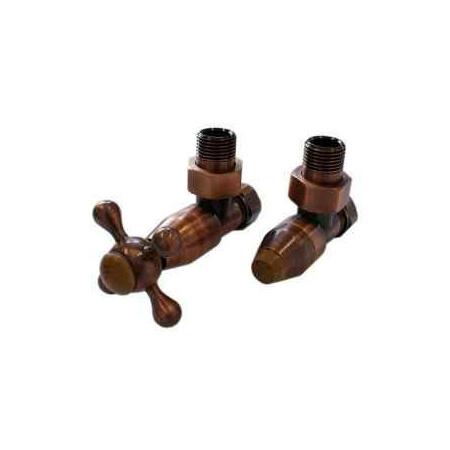 Schlosser Elegant Style zestaw grzejnikowy kątowy antyczna miedź z drewnem GW M22x1,5 x GW 1/2 Stal 604800027