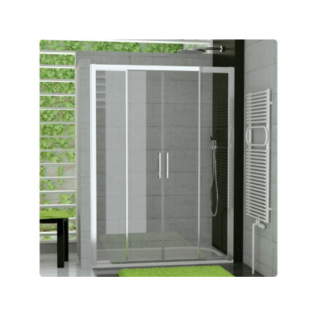 Ronal Sanswiss Top-Line Drzwi rozsuwane czteroczęściowe 140x190 cm, profile białe szkło przezroczyste TOPS414000407
