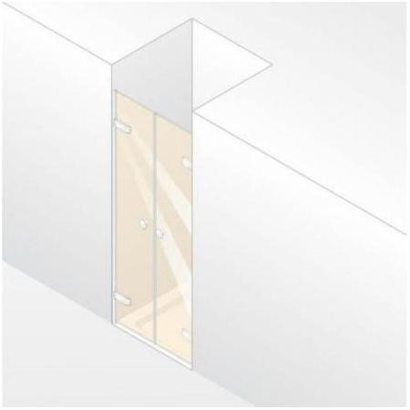 Huppe Enjoy Elegance Drzwi wahadłowe do wnęki - 120/200 chrom eloxal Szkło Privatima Anti-Plaque 3T2405.092.375