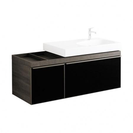 Keramag Citterio Szafka podumywalkowa wisząca 133,4x55,4x50,4 cm, dąb czarny/szkło czarne 835536000