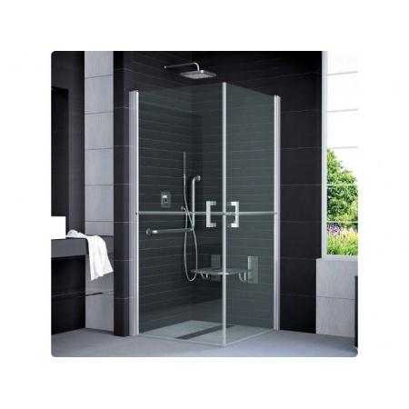 Ronal Sanswiss Mobility Kabina prysznicowa narożna z drzwiami dwuczęściowymi dzielonymi w połowie 80x195 cm drzwi prawe, profile połysk szkło przezroczyste SLM4D08005007