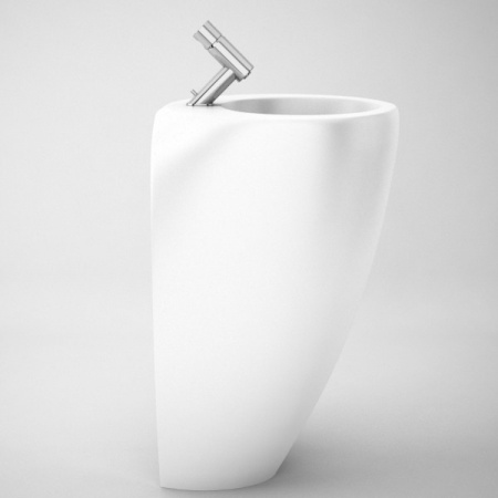 Laufen Alessi One Monolityczna umywalka przyścienna z postumentem 52x53cm z otworem na baterię na środku, biała H8119714001041