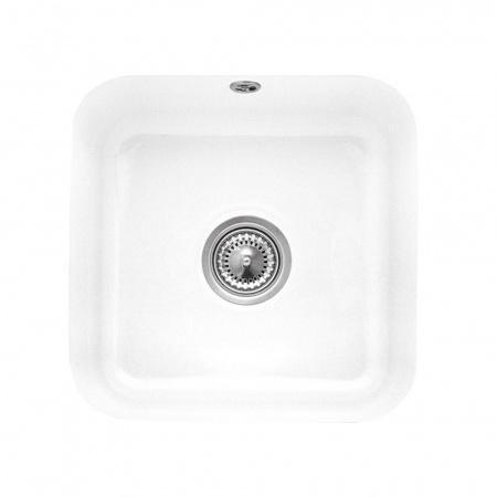 Villeroy&Boch Cisterna 50 Zlewozmywak ceramiczny 1-komorowy CeramicPlus 44,5x44,5 cm podblatowy, bez ociekacza, biały Weiss Alpin 670301R1