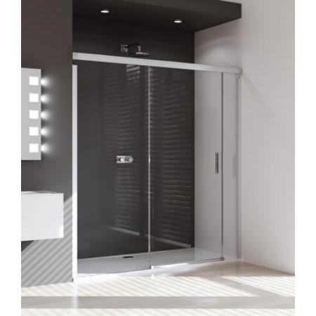 Huppe Design Pure Drzwi prysznicowe suwane ze stałym segementem i częścią boczną - Mocowanie lewe 180/200 Chrom eloxal/biały Szkło przezroczyste 8P0306.H55.321