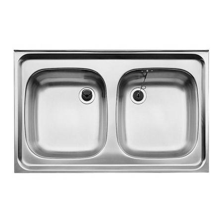 Blanco Z 8 x 6 Zlewozmywak stalowy dwukomorowy 80x60 cm bez korka automatycznego, stalowy matowy 518221