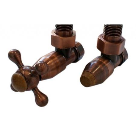Schlosser Elegant Zestaw zaworów grzejnikowych style antyczna miedź + drewno wersja kątowa (604800026)