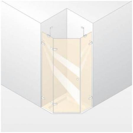 Huppe Enjoy Elegance Drzwi skrzydłowe ze stałymi segmentami, 1-częściowe, wykonanie na wymiar - Mocowanie prawe Szkło przezroczyste 3R2180.092.321