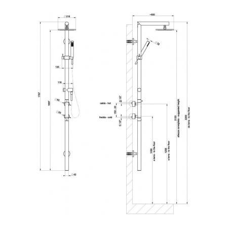 Gessi Minimali Zestaw natryskowy termostatyczny szczotkowany nikiel 23463.142 / 23463142