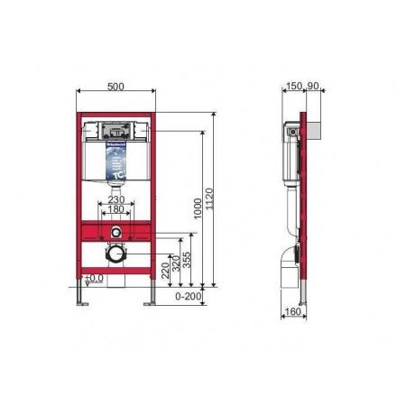 Tece Base Stelaż podtynkowy do WC ze spłuczką podtynkową uruchamianą z przodu + uszczelka wygłuszająca Rekan, 9.400.007CU