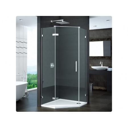 Ronal Pur Drzwi prysznicowe jednoczęsciowe do kabiny pięciokątnej - Mocowanie lewe na wymiar Chrom Szkło Durlux 200 (PUR51GSM11022)